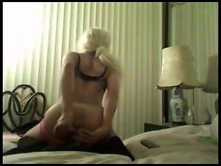 crossdressing slut bounces on thick throbbing dick