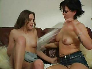 Lesbian girls spit on eachother