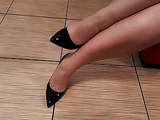 Black high heel fetish with stockings and legs