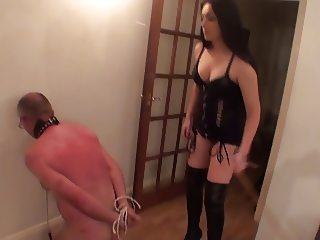 woman caning slave