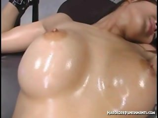 Gorgeous Oriental babe with hairy pussy gets held down as she orgasms