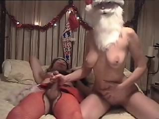 Crossdresser with Girlfriend Christmas Handjob