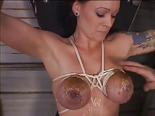 Big tits hottie bound and teased with hot wax