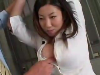 Busty asian buttons popping