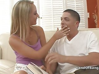Blonde coed rides horny boyfriends dick
