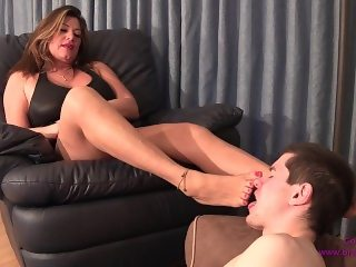 Daniela - Step Son Forced to Lick Boots and Feet Clean