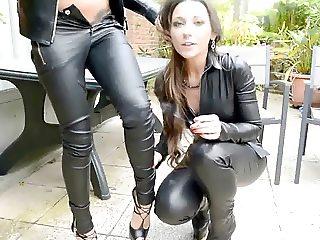 julie skyhigh & friend all in leather smoking kiss femdompov