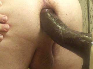 Fucking my BBC suction cup dildo, closeup
