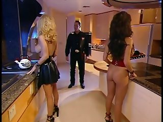 Busty blonde and brunette in metal lustily sucking chef's thick dick for cum