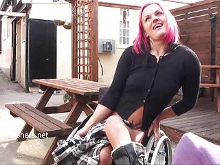 Wheelchair bound Leah Caprice flashing and public nudity