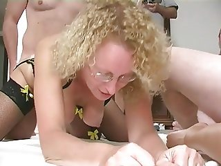 two mature blonde sluts gangbanged