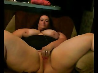 Horny fat BBW GF loves spreading her wet shaven pussy