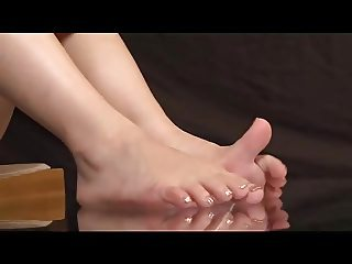 Kokomi Naruse Sweaty Feet on Glass Table and Footjob