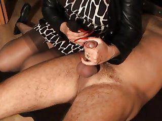 Long rednails handjob torture