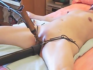 Submissive wife tied and masturbated