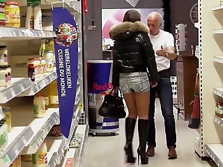 julie skyhigh french gangbanged DP supermarket in sexy boots