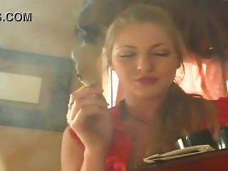 Vanessa Smoking new - Red lips and a cigarette