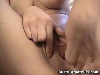 Busty Jacklynn masturbates after hot interview