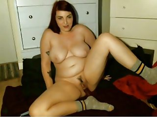 chubby redhead in socks cums