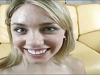amateur blondie swallows facial again