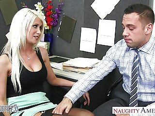 Busty blonde Riley Jenner fucking in the office