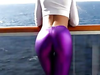 Shiny purple spandex leggings