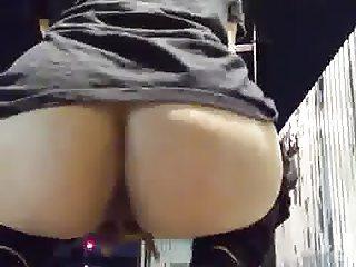 Horny Amateur Slut Masturbates Outside At A Train Station