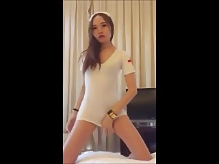 Hot asian GF nurse cosplay dance tease bj
