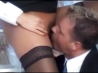 Stunning blond secretary in stockings fucked in the office