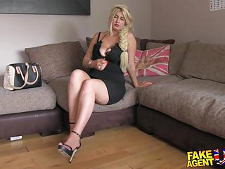FakeAgentUK Blonde wannabe loves sucking and fucking