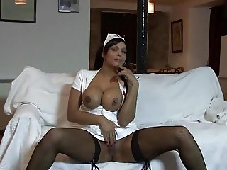 Old man and busty nurse