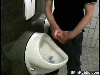 Selfsuck and Cumshot in Public Toilet!