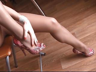Long Legs In Sheer Nude Pantyhose