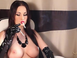 Smoking Topless in Gloves