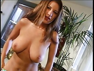 Busty mature strips and takes a leak on her kitchen counter