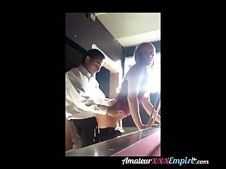 Teen fucking at a pool table with boss