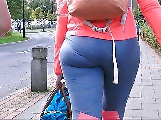 Candid college girls spandex ass