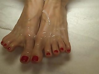 amazing red dress red toe oil footjob cum on feet