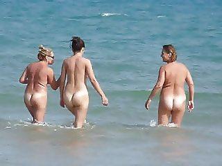 Three juicy Spanish bottoms heading into the sea!