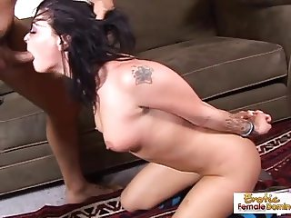 Raven slut takes a massive cock deep in the pussy