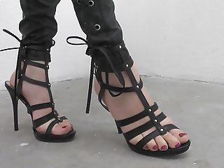 woman POV in leggings high heels