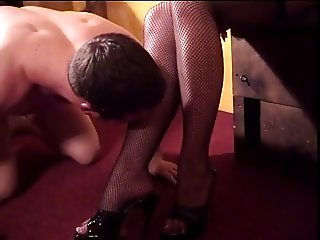 Mistress Amberle, spanking her slaves ass