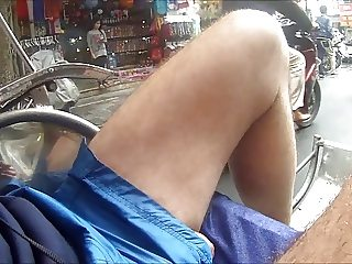 122 VIETNAM J SHINY SHORTS RICKHAW RIDE COCK SEEN