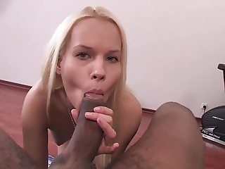 sexy blonde takes her first BBC