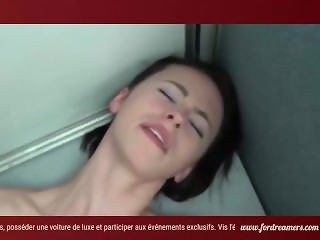 ForDreamers.com - Exhibitionist blonde sucks the cock in front a big glass