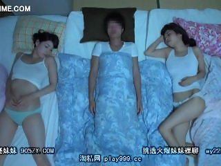 amazing threesome with 2 big boobs sister in sleep 16