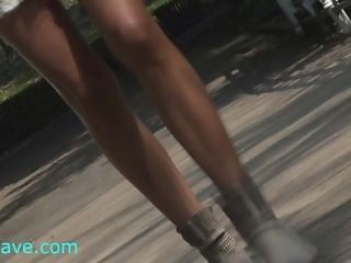 BDSM model Lea Tyron walking from train to dungeon where she gets whipped