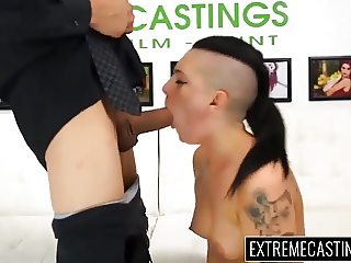 Bitchy Rachael swallows cum after gagging wet blowjob