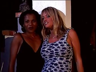 Horny lesbians plow young black chick's fabulous ass with big dick dildo on sofa