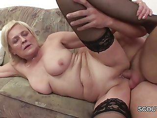 Grandson Seduce Blonde Granny to Fuck and Cum